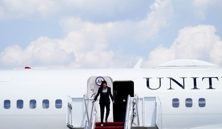 Vice President Kamala Harris deplanes Air Force Two after a technical issue forced the aircraft to return and land at Andrews Air Force Base, Md., Sunday, June 6, 2021, as she was en route to Guatemala City. (AP Photo/Jacquelyn Martin)