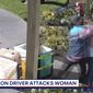 Amazon driver Itzel Ramirez was arrested and charged with two counts of elder abuse and battery involving serious injury, Jun3 3, 2021. The attack was captured by surveillance footage in Castro Valley, California. (Image: Fox-2 KTVU video screenshot)