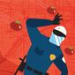 Illustration on the increased challenges to police by Linas Garsys/The Washington Times