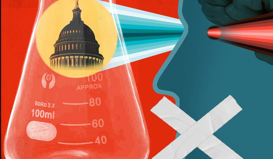 Illustration on politicizing science by Linas Garsys/The Washington Times