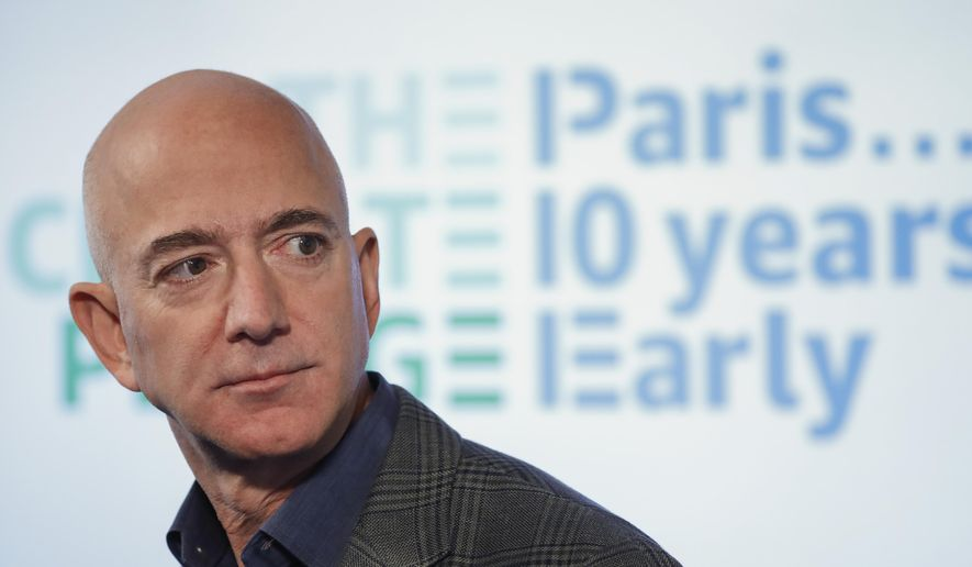 In this Sept. 19, 2019, file photo, Amazon CEO Jeff Bezos speaks during his news conference at the National Press Club in Washington. (AP Photo/Pablo Martinez Monsivais, File)