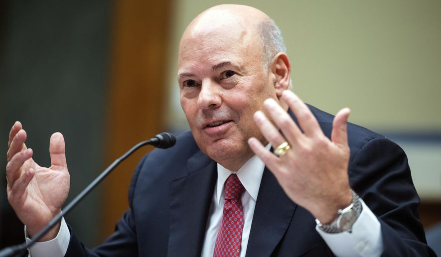 In this Aug. 24, 2020, file photo, Postmaster General Louis DeJoy testifies during a House Oversight and Reform Committee hearing on the Postal Service on Capitol Hill in Washington. (Tom Williams/Pool via AP, File)