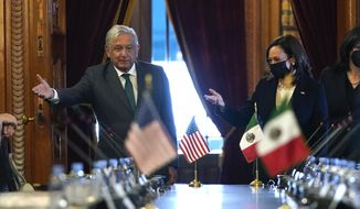 Vice President Kamala Harris and Mexican President Andres Manuel Lopez Obrador gesture as they arrive for a bilateral meeting Tuesday, June 8, 2021, at the National Palace in Mexico City. (AP Photo/Jacquelyn Martin)