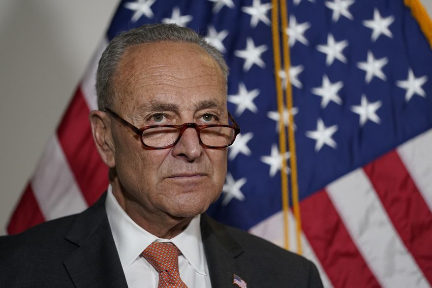 Senate Majority Leader Chuck Schumer of N.Y., talks with reporters on Capitol Hill in Washington, Tuesday, June 8, 2021. (AP Photo/Susan Walsh) ** FILE **
