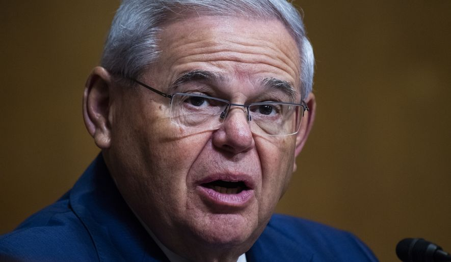 Sen. Bob Menendez, D-N.J., speaks during a Senate Finance Committee hearing on the IRS budget request on Capitol Hill in Washington, Tuesday, June 8, 2021. (Tom Williams/Pool via AP) **FILE**