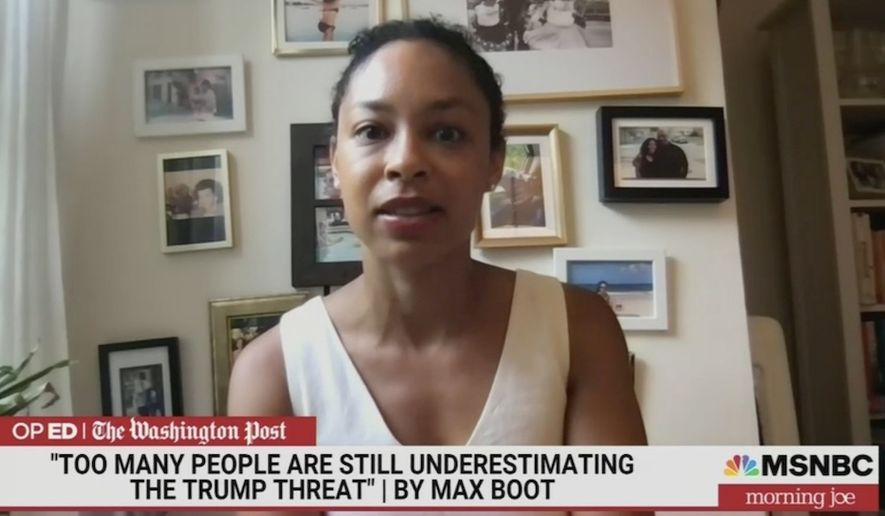 """Mara Gay of The New York Times talks about the """"disturbing"""" reality of American flags on Long Island on the anniversary of D-Day. She made the comments during a June 8 appearance on MSNBC's """"Morning Joe."""" (Image: MSNBC, """"Morning Joe"""" video screenshot)"""