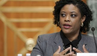 Office of Management and Budget acting director Shalanda Young speaks during a Senate Budget Committee hearing to discuss President Joe Biden's budget request for FY 2022 on Tuesday, June 8, 2021, on Capitol Hill in Washington. (Greg Nash/Pool via AP)