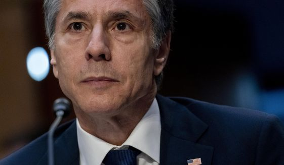 Secretary of State Antony Blinken testifies during a Senate Foreign Relations budget hearing on Capitol Hill, Tuesday, June 8, 2021 in Washington. (AP Photo/Andrew Harnik)