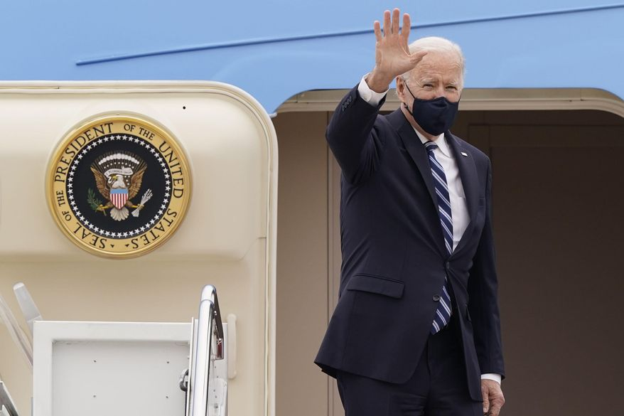 FIn this March 16, 2021, file photo, President Joe Biden waves from the top of the steps of Air Force One at Andrews Air Force Base, Md. On Biden's first foreign trip as president, he will find many of his hosts in Europe welcoming but wary after a tense four years between Europe and the U.S. under former President Donald Trump. (AP Photo/Susan Walsh, File)