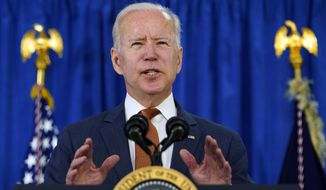 President Joe Biden talks about the May jobs report from the Rehoboth Beach Convention Center in Rehoboth Beach, Del., Friday, June 4, 2021. (AP Photo/Susan Walsh) **FILE**