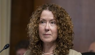 Tracy Stone-Manning listens during a confirmation hearing for her to be the director of the Bureau of Land Management, during a hearing of the Senate Energy and National Resources Committee on Capitol Hill, Tuesday, June 8, 2021, in Washington. (AP Photo/Alex Brandon) **FILE**