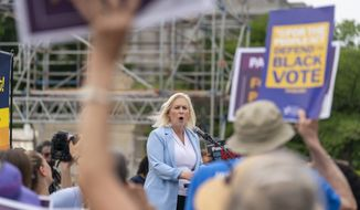 Sen. Kirsten Gillibrand, D-N.Y., speaks at a rally in front of the Supreme Court in Washington, Wednesday, June 9, 2021, to support the Senate's upcoming election bill. (AP Photo/Andrew Harnik)