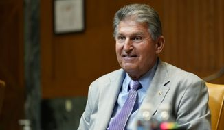 Sen. Joe Manchin, D-W.Va., attends a Senate Appropriations Subcommittee on Commerce, Justice, Science, and Related Agencies hearing with Attorney General Merrick Garland, Wednesday, June 9, 2021., on Capitol Hill in Washington. (AP Photo/Susan Walsh, Pool)