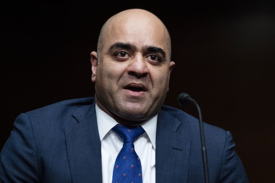 Zahid Quraishi, nominated by U.S. President Joe Biden to be a U.S. District Judge for the District of New Jersey, speaks during a Senate Judiciary Committee hearing on pending judicial nominations, Wednesday, April 28, 2021 on Capitol Hill in Washington. (Tom Williams/Pool via AP) **FILE**