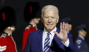 U.S. President Joe Biden waves on his arrival on Air Force One at Cornwall Airport Newquay, in Newquay, England,  ahead of the G-7 summit, Wednesday, June 9, 2021. (Phil Noble/Pool Photo via AP)