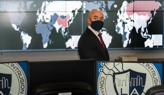 Secretary of Homeland Security Alejandro Mayorkas tours the City of Los Angeles Information Technology Agency (ITA) command center, responsible for the city's cybersecurity at the Emergency Operations Center in Los Angeles Thursday, June 10, 2021. (AP Photo/Damian Dovarganes)