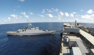 In this photo released Thursday, June 10, 2021, by the Iranian army, Iranian warships seen in the Atlantic Ocean. Iran has dispatched two warships to the Atlantic Ocean, a rare mission to demonstrate the country's maritime power, state TV reported Thursday, without specifying the vessels' final destination. (Iranian Army via AP)