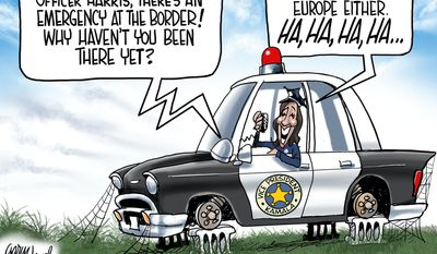 Officer Harris, there's an emergency at the border! (Illustration by Gary Varvel for Creators Syndicate)