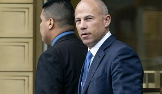 In this July 23, 2019, file photo, California attorney Michael Avenatti walks from a courthouse in New York, after facing charges. On Wednesday, June 9, 2021, Avenatti's lawyers said he should spend no more than six months behind bars after a jury concluded he tried to extort $25 million from Nike. (AP Photo/Craig Ruttle, File)