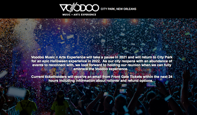 Screen capture from the website for the Voodoo Music & Arts Experience held in New Orleans around Halloween every year. The festival for 2021 is canceled. (www.voodoofestival.com)
