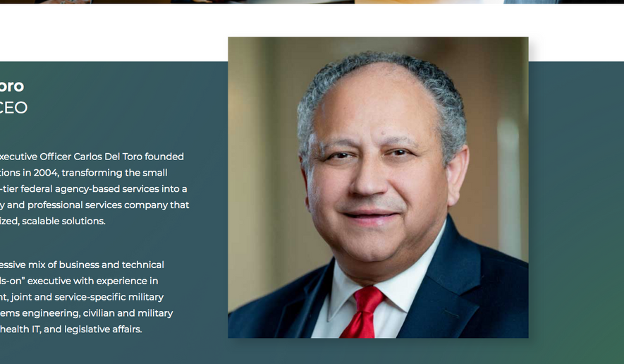 Carlos Del Toro, President Biden's pick for Secretary of the Navy, is shown in this screen capture from his profile page at SBG Technology Solutions, where he serves as president and CEO. (www.sbgts.com/carlos-del-toro/)