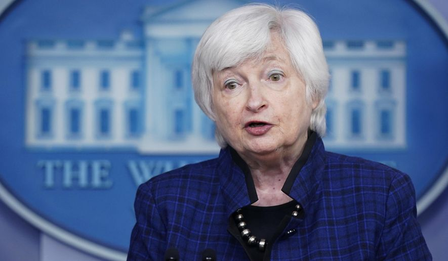 In this file photo dated Friday, May 7, 2021, U.S. Treasury Secretary Janet Yellen speaks during a press briefing at the White House, in Washington, USA. (AP Photo/Patrick Semansky, File)