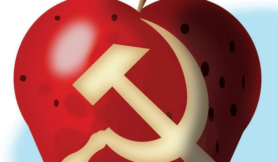 Illustration on Marxism in schools by Alexander Hunter/The Washington Times