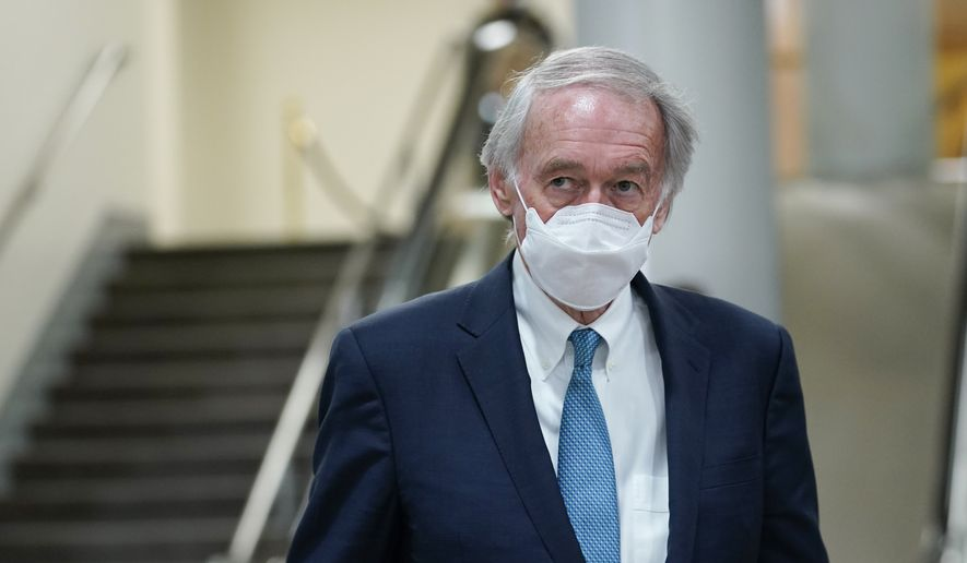 Sen. Ed Markey, D-Mass., walks on Capitol Hill in Washington. President Bidens hope of pouring billions of dollars into green infrastructure investments is running into the political obstacle of winning over Republican votes. (AP Photo/Susan Walsh, File)
