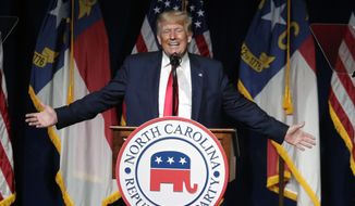 Former President Donald Trump speaks at the North Carolina Republican Convention in Greenville, N.C., on Saturday, June 5, 2021. (AP Photo/Chris Seward) ** FILE **