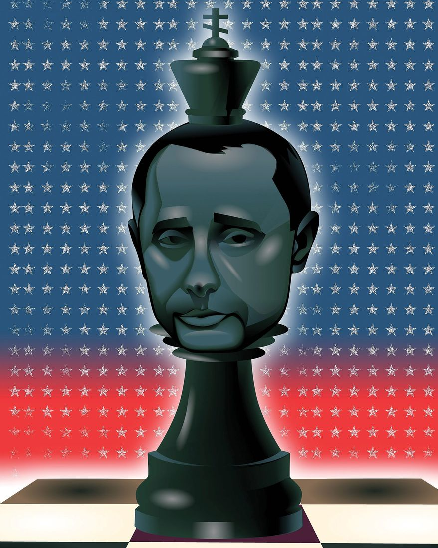 Illustration on Russia and Putin's strategy by Linas Garsys/The Washington Times