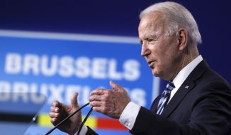 U.S. President Joe Biden speaks during a media conference at a NATO summit in Brussels, Monday, June 14, 2021. U.S. President Joe Biden is taking part in his first NATO summit, where the 30-nation alliance hopes to reaffirm its unity and discuss increasingly tense relations with China and Russia, as the organization pulls its troops out after 18 years in Afghanistan. (Olivier Hoslet, Pool via AP)