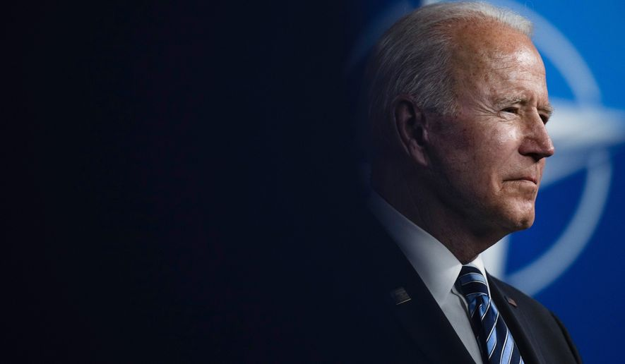 U.S. President Joe Biden speaks during a media conference at a NATO summit in Brussels, Monday, June 14, 2021. U.S. President Joe Biden is taking part in his first NATO summit, where the 30-nation alliance hopes to reaffirm its unity and discuss increasingly tense relations with China and Russia, as the organization pulls its troops out after 18 years in Afghanistan. (AP Photo/Francisco Seco, Pool) **FILE**