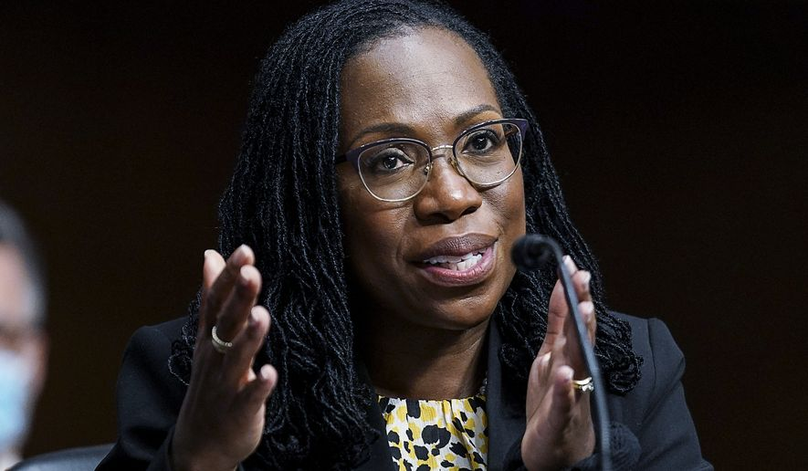 In this April 28, 2021 file photo, Ketanji Brown Jackson, nominated to be a U.S. Circuit Judge for the District of Columbia Circuit, testifies before a Senate Judiciary Committee hearing on pending judicial nominations, on Capitol Hill in Washington. The Senate is expected to narrowly confirm Ketanji Brown Jackson for the powerful U.S. Court of Appeals for the District of Columbia. She is widely expected to land on President Joe Biden's short list should a Supreme Court vacancy arise. (Kevin Lamarque/Pool via AP)