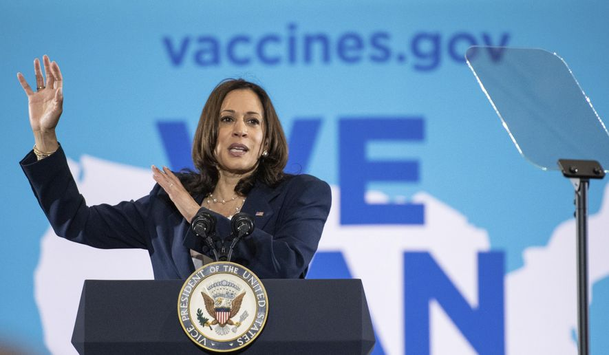 Vice President Kamala Harris speaks at the Phillis Wheatley Community Center in Greenville, S.C. on Monday, June 14, 2021, about the importance for everyone to get vaccinated for COVID-19. (John A. Carlos II/The Post And Courier via AP)
