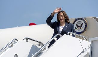 Vice President Kamala Harris arrives at Greenville-Spartanburg International Airport in S.C., on Monday, June 14, 2021. Harris is stopping in South Carolina to kick off a nationwide push by the White House to get more Americans vaccinated against COVID-19 before the July 4 holiday.  (John A. Carlos III//The Post And Courier via AP)