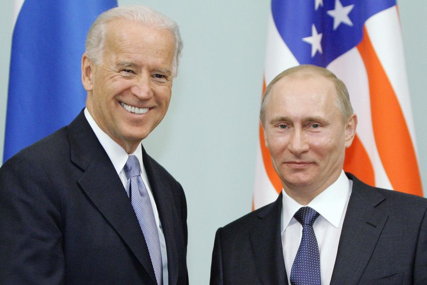 In this March 10, 2011, file photo, then-Vice President Joe Biden, left, shakes hands with Russian Prime Minister Vladimir Putin in Moscow, Russia. Central and Eastern European nations are anxious about the Wednesday, June 16, 2021, summit meeting between now-U.S. President Biden and Putin, wary of what they see as hostile intentions from the Kremlin. (RIA Novostia/Alexei Druzhinin/Pool via AP) ** FILE **