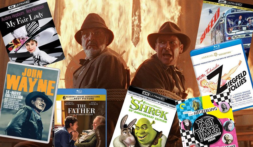 """Best movie picks for Father's Day include """"My Fair Lady,"""" """"John Wayne Essential 14 Movie Collection,"""" """"The Father,"""" """"Shrek: 20th Anniversary Edition,"""" """"Fast Times at Ridgemont High,"""" """"Ziegfeld Follies,"""" """"Speed"""" and, in the background, Henry Jones Sr. and his famous son are in a bit of a a mess in """"Indiana Jones and the Last Crusade,"""" part of the """"Indiana Jones 4-Movie Collection."""""""