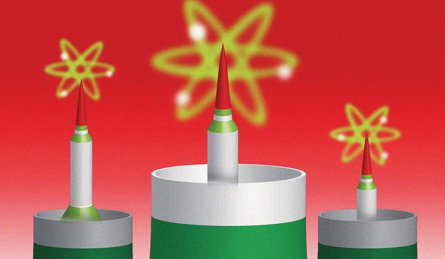 Illustration on Iran and nuclear weapons policy by Linas Garsys/The Washington Times