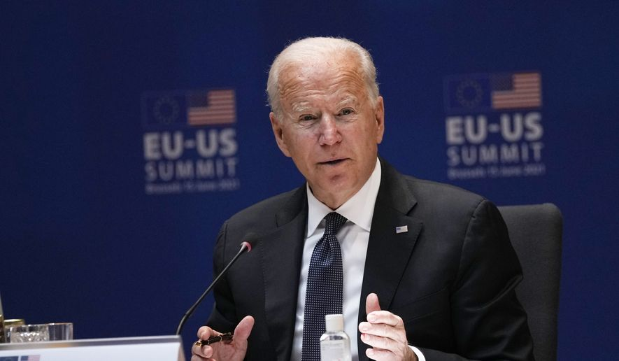 U.S. President Joe Biden speaks during the EU-US summit at the European Council building in Brussels, Tuesday, June 15, 2021. (AP Photo/Francisco Seco)