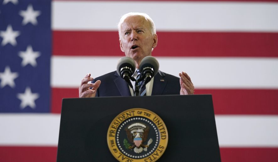 In this Wednesday, June 9, 2021, file photo, President Joe Biden speaks to American service members at RAF Mildenhall in Suffolk, England. The Biden administration says it will enhance its analysis of threats from domestic terrorists as part of a nationwide strategy to combat domestic terrorism. (AP Photo/Patrick Semansky, File)