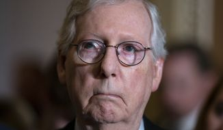 Senate Minority Leader Mitch McConnell, R-Ky., and the GOP leadership talk to reporters about progress on an infrastructure bill and voting rights legislation, at the Capitol in Washington, Tuesday, June 15, 2021. (AP Photo/J. Scott Applewhite)