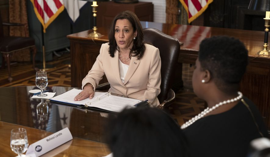 Vice President Kamala Harris speaks about Deferred Action for Childhood Arrivals (DACA), Tuesday, June 15, 2021, in her ceremonial office on the White House complex in Washington. (AP Photo/Jacquelyn Martin)