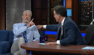 """Jon Stewart talks about the possible origins of COVID-19 with """"The Late Show"""" host Stephen Colbert, June 14, 2021. (Image: YouTube, """"The Late Show with Stephen Cobert"""" video screenshot)"""