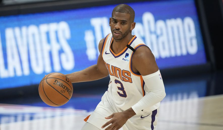 Phoenix Suns guard Chris Paul (3) in the first half of Game 4 of an NBA second-round playoff series Sunday, June 13, 2021, in Denver. (AP Photo/David Zalubowski)