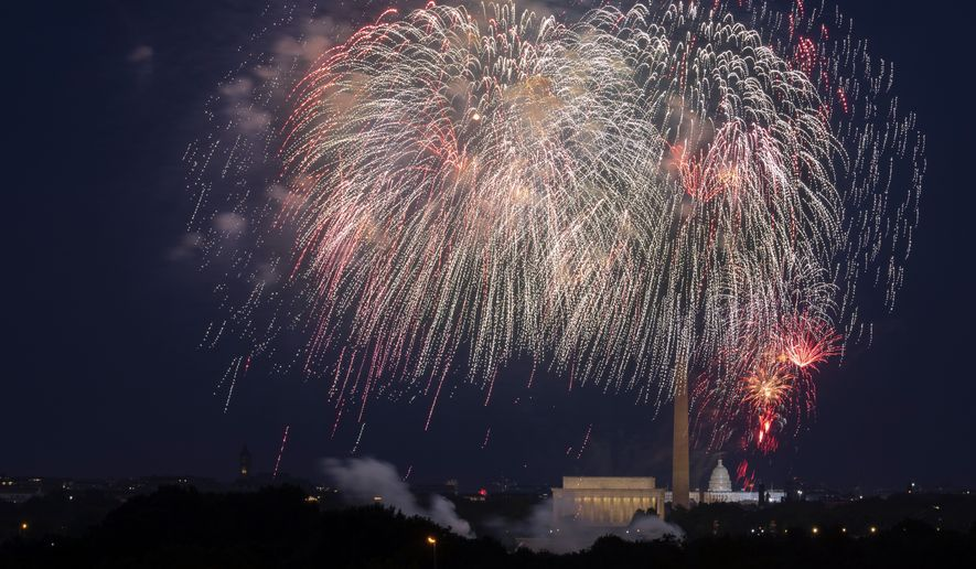 In this Saturday, July 4, 2020, file photo, Fourth of July fireworks explode over the Lincoln Memorial, the Washington Monument and the U.S. Capitol along the National Mall in Washington. (AP Photo/Cliff Owen, File)