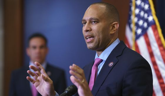 In this file photo, House Democratic Caucus Chair Hakeem Jeffries, D-N.Y., speaks to reporters after a meeting with Biden administration officials at the U.S. Capitol in Washington, Tuesday, June 15, 2021. Mr. Jeffries is among the sponsors of the Eliminating a Quantifiably Unjust Application of the Law, or EQUAL, Act, bipartisan legislation to reform federal sentencing for drug offenses. (AP Photo/J. Scott Applewhite)  **FILE**