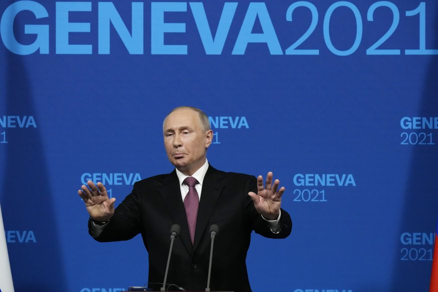 Russian President Vladimir Putin speaks during a news conference after his meeting with U.S President Joe Biden at the 'Villa la Grange' in Geneva, Switzerland in Geneva, Switzerland, Wednesday, June 16, 2021. (AP Photo/Alexander Zemlianichenko, Pool)