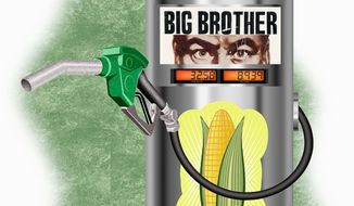 Illustration on a government mandate to increase ethanol content in gasoline by Alexander Hunter/The Washington Times