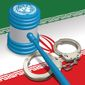 Illustration on legal measures against Iran by Linas Garsys/The Washington Times