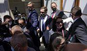 Security personnel corral members of the press pools covering President Joe Biden's meeting with Russian President Vladimir Putin, Wednesday, June 16, 2021, in Geneva, Switzerland. (AP Photo/Patrick Semansky)